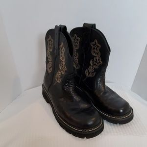 Roper Women's Black Leather Western Cowboy Boots